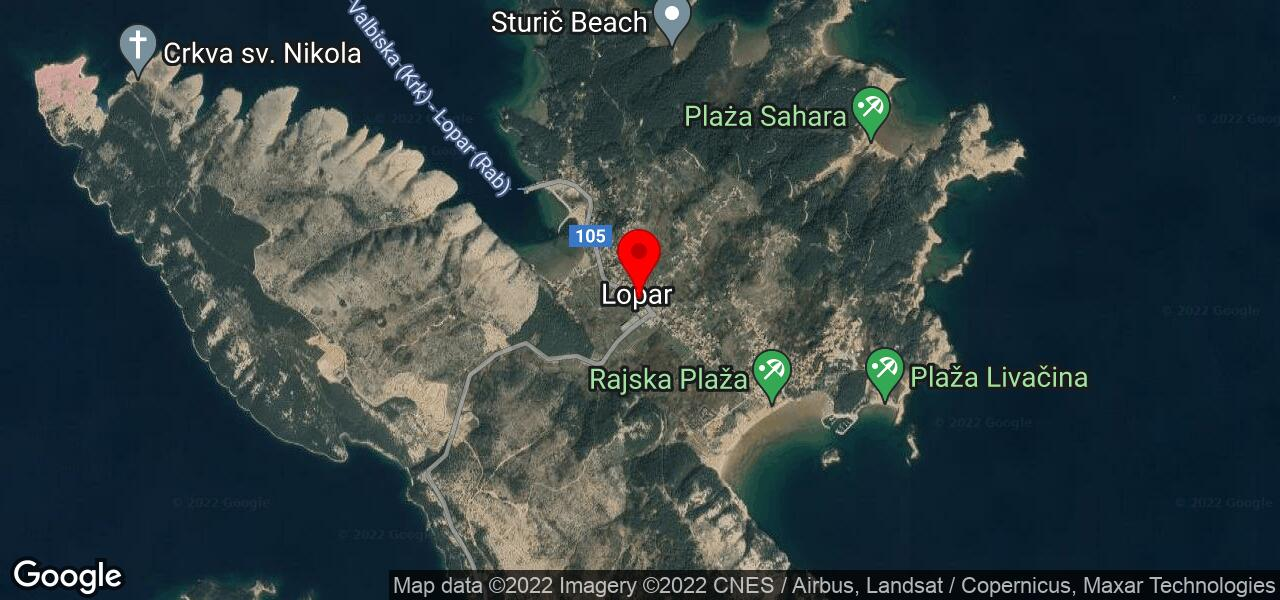 Google Map of Croatian holiday apartments on island Rab in Lopar